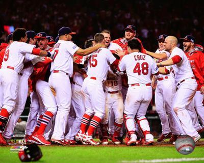 The St. Louis Cardinals celebrate winning Game 2 of the 2014 National League Championship Series