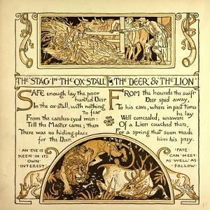 The Stag in the Ox Stall the Deer and the Lion
