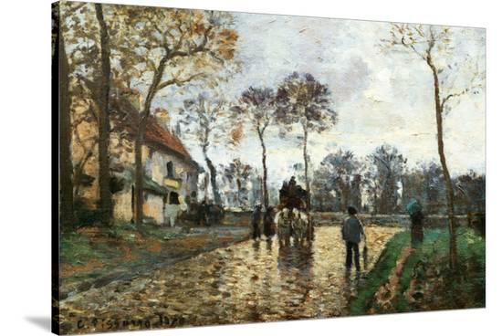 The Stagecoach-Camille Pissarro-Stretched Canvas Print