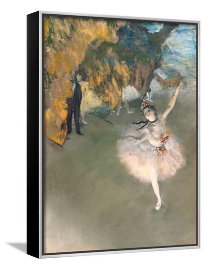 The Star, or Dancer on the Stage, circa 1876-77-Edgar Degas-Framed Canvas Print