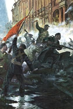 The Storming of the Winter Palace, St Petersburg, Russian Revolution, October 1917