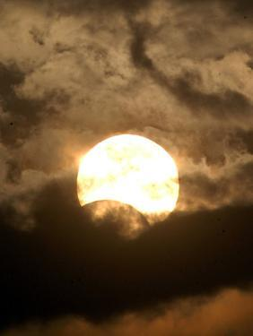The Sun is Seen During the Solar Eclipse, in Madras, India