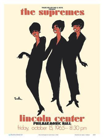 Joe Eula Vintage Music Poster Print The Supremes 1965 Lincoln Center Concert