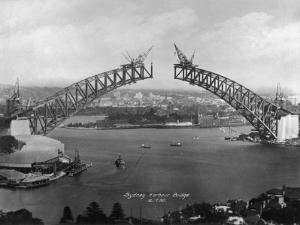 The Sydney Harbour Bridge During Construction in Sydney, New South Wales, Australia