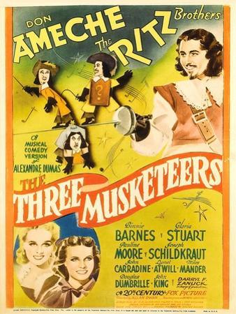 The Three Musketeers, the Ritz Brothers, Don Ameche, Gloria Stuart, Pauline Moore, 1939
