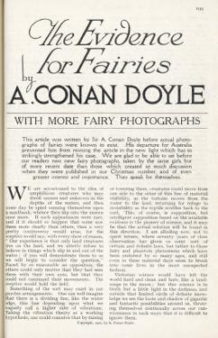 The Title Page of Arthur Conan Doyle's Article Discussing the Evidence for the Existence of Fairies