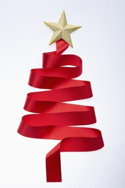 The Tree Shaped Red Tie and Gold Star
