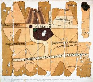 The Turin Papyrus, Reproduction of Ancient Egyptian Map of Gold Mines, c.1300 BC