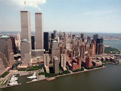 The Twin Towers of the World Trade Center Rise Above the New York Skyline