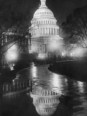 The U.S. Capitol Builing in a Light Night Rain