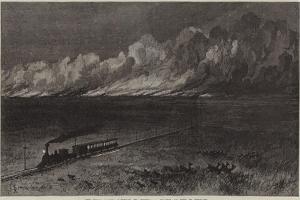 The Union Pacific Railroad of America, a Prairie on Fire in Nebraska