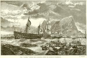 """The """"Victory"""" Towed into Gibraltar after the Battle of Trafalgar"""