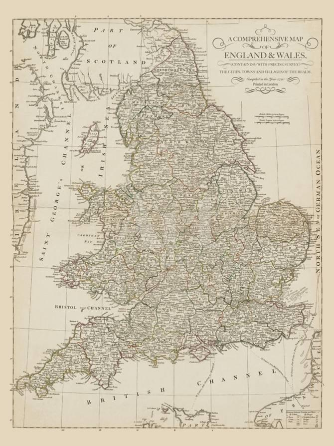 Map Of England And Wales With Towns.Map Of England And Wales 1790 Giclee Print By The Vintage