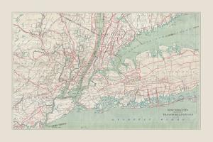 New York City Transportation Map by The Vintage Collection