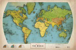 Retro World Map by The Vintage Collection