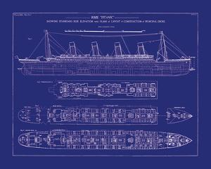 Titanic Blueprint I by The Vintage Collection