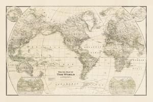 Travel Map of the World by The Vintage Collection