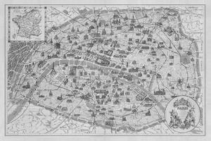 Vintage Paris Map - B&W by The Vintage Collection