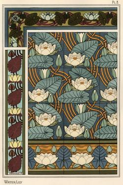 The water lily, Nelumbo lutea, in wallpaper and tile patterns. Lithograph by Verneuil.