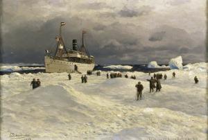 The Oihonna in Ice, Near Spitzbergen, 1905 by Themistocles von Eckenbrecher