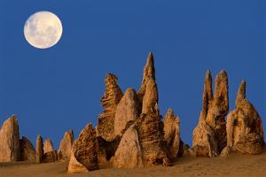 Australia, Nambung National Park, Moonrise over Rock Pinnacles by Theo Allofs