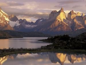 Lake Pehoe and Paine Grande at Sunrise, Torres del Paine National Park, Patagonia, Chile by Theo Allofs