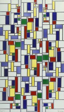 A Leaded and Stained Glass Panel; 'Vetrata Komposite V in Lood' by Theo van Doesburg