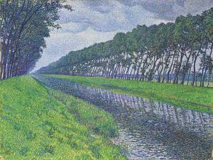 Canal in Flanders; Le Canal En Flandre Par Temps Triste, 1894 by Theo van Rysselberghe
