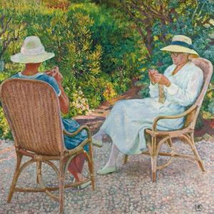 Maria and Elisabeth Van Rysselberghe Knitting in the Garden, C.1912 by Theo van Rysselberghe