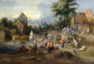 A Vegetable Market Near A Village by Theobald Michau