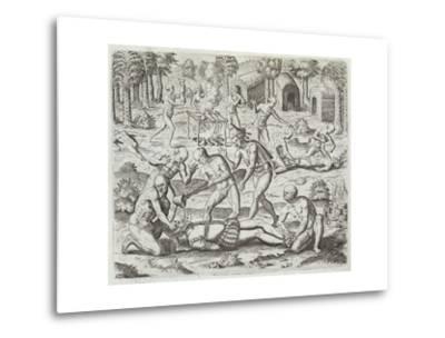 Cannibals in Darien, Panama, Capturing Spaniards, Gottfried, Pub. Merian, Frankfurt, 1631 by Theodor de Bry