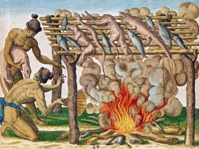 """How to Grill Animals, from """"Brevis Narratio..."""", Published by Theodore de Bry, 1591 by Theodor de Bry"""