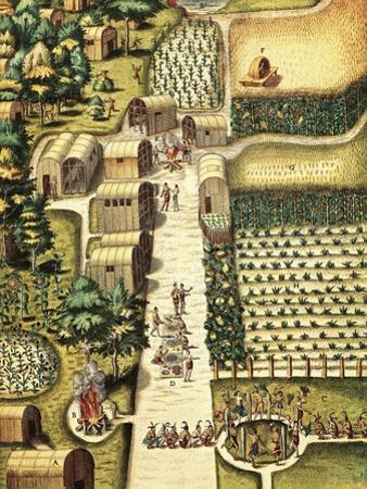 Indian Village of Secoton with Gardens by Theodor de Bry
