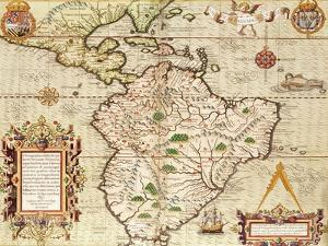 "Map of Central and South America, from ""Americae Tertia Pars.."", 1562 by Theodor de Bry"