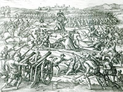 The Battle of Cajamarca, 1532 by Theodor de Bry