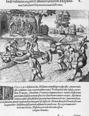 The Inhabitants of Puerto Rico Test the Belief That the Spaniards are Immortal by Drowning Salsedo by Theodor de Bry