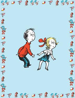 Cat in Hat Blue Border Collection II - Sally & Her Brother (blue bordered) by Theodor (Dr. Seuss) Geisel
