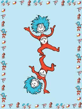 Cat in Hat Blue Border Collection III - Thing 1 & Thing 2 (blue bordered) by Theodor (Dr. Seuss) Geisel