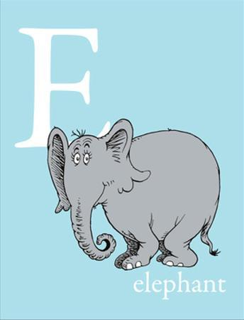 E is for Elephant (blue) by Theodor (Dr. Seuss) Geisel