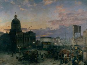 Washington Street, Indianapolis at Dusk, 1892-1895 by Theodor Groll