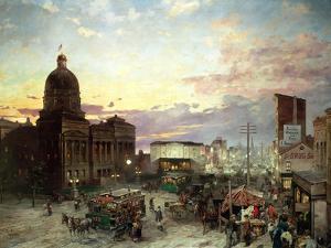 Washington Street, Indianapolis at Dusk by Theodor Groll