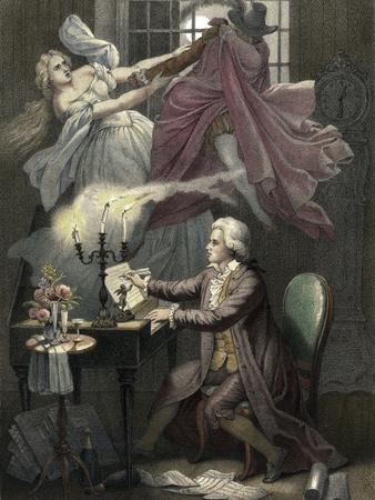 Mozart Composes Act 1 of the Opera Don Giovanni, C19th