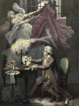 Mozart Composes Act 1 of the Opera Don Giovanni, C19th by Theodor Mintrop