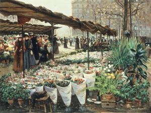 Marche aux Fleurs a La Madeleine by Theodor von Hoermann