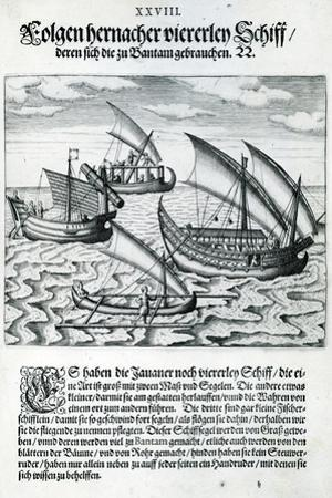 Four Sailing Boats from 'India Orientalis', 1598 by Theodore de Bry