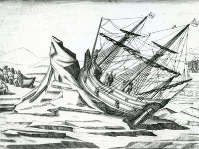 Sailing Ship Stranded on Iceberg from 'India Orientalis' 1598 by Theodore de Bry