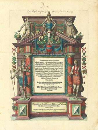 Title Page of the First Edition in German of the First Part of 'Great Voyages: America', 1590 by Theodore de Bry