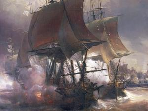 Naval Battle of Ouessant Between French and British Fleets, July 27, 1778 by Theodore Gudin