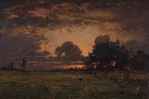 Sunset over the Plain of Barbizon by Théodore Rousseau