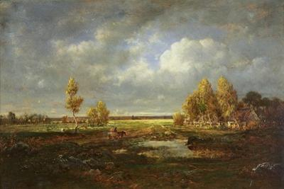 The Pond Near the Road, Farm in Le Berry, C.1845-48 by Theodore Rousseau